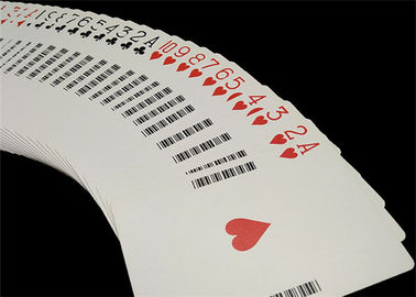 China Linen Finish Casino Playing Cards Black Core Paper Material with UV Sign supplier