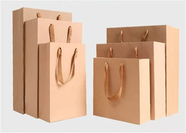 CMYK Color Printed Brown Kraft Paper Gift Bags , Twist Rope Paper Bags